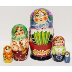 Nesting doll Sergiev-Posad 5 pcs. Girl with accordion