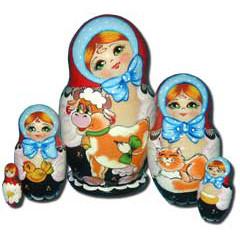 Nesting doll Sergiev-Posad 5 pcs. Girl with a  bull calf