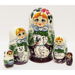 Nesting doll Sergiev-Posad 5 pcs. Girl with a Dalmatian dog