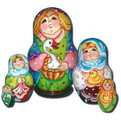 Nesting doll Sergiev-Posad 5 pcs. Lady with a goose