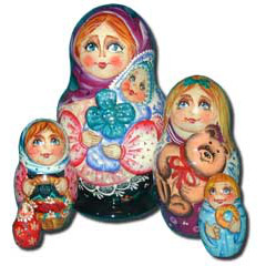 Nesting doll Sergiev-Posad 5 pcs. Mother and a child
