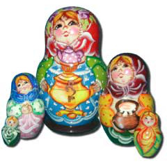 Nesting doll Sergiev-Posad 5 pcs. Girl with a samovar