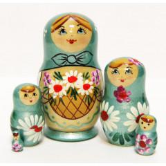 Nesting doll Sergiev-Posad 5 pcs. Basket of camomiles