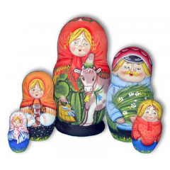 Nesting doll Sergiev-Posad 5 pcs. girl with the cow