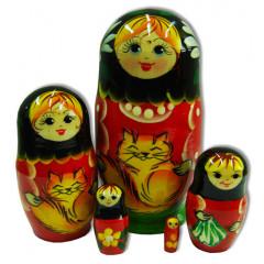 Nesting doll Sergiev-Posad 5 pcs. cats small
