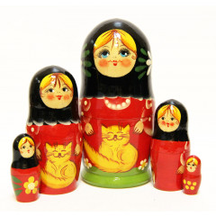 Nesting doll Sergiev-Posad 5 pcs. Cats big
