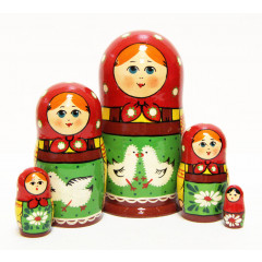 Nesting doll Sergiev-Posad 5 pcs. The geese