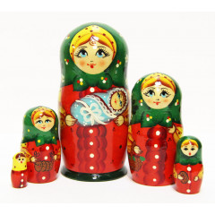 Nesting doll Sergiev-Posad 5 pcs. woman with the baby