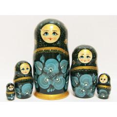 Nesting doll Sergiev-Posad 5 pcs. Gold pattern