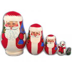 New Year and Christmas matrioshka nesting doll 5 pcs. Santa Claus Lidiya