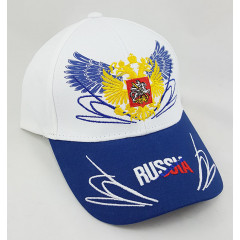 Headdress Baseball cap Russia, Russian coat of Arms, wings, white top, blue visor