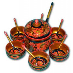 Khokhloma gift Set for honey (6 persons)