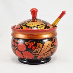 Khokhloma gift Sugar bowl and a small spoon
