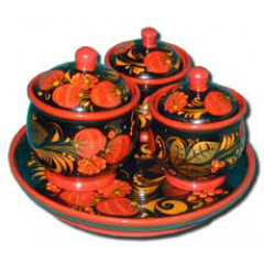 Khokhloma gift Set for spices small