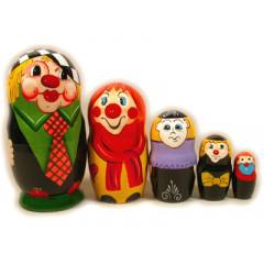 Nesting doll Sergiev-Posad 5 pcs. Clowns