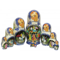 Nesting doll 10 pcs. Fairy tales blue view