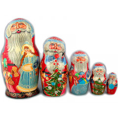 Nesting doll Sergiev-Posad 5 pcs. Santa Claus