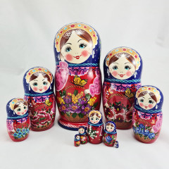 Nesting doll 10 pcs. Motley flowers