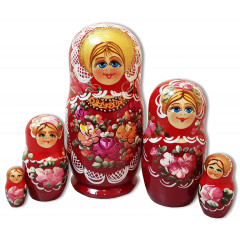 Nesting doll 5 pcs. Motley flowers