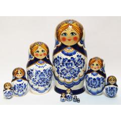 Nesting doll Sergiev-Posad 10 pcs. Gzhel