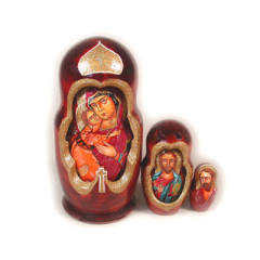 Nesting doll 5 pcs. Religious wood curved