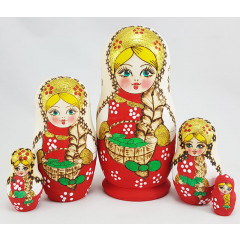 Nesting doll 5 pcs. Beauty with a scythe