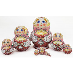 Nesting doll Sergiev-Posad 10 pcs. Red Shawl