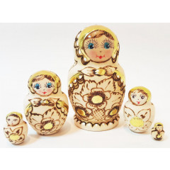 Nesting doll 5 pcs. woodburn