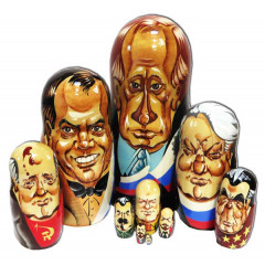 Nesting doll 10 pcs. The leaders of Russia