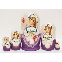 Nesting doll Sergiev-Posad 5 pcs. Union of camomiles