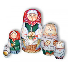 Nesting doll Sergiev-Posad 5 pcs. grandmother with the hen
