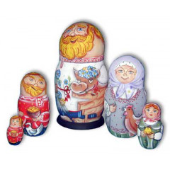 Nesting doll Sergiev-Posad 5 pcs. grandfather with the cow