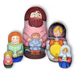 Nesting doll Sergiev-Posad 5 pcs. grandfather with the boy