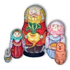 Nesting doll Sergiev-Posad 5 pcs. Old man with turnip