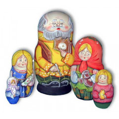 Nesting doll Sergiev-Posad 5 pcs. Old man with a watch