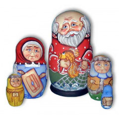 Nesting doll Sergiev-Posad 5 pcs. Old man with a fish