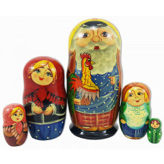 Nesting doll Sergiev-Posad 5 pcs. grandfather with the cock