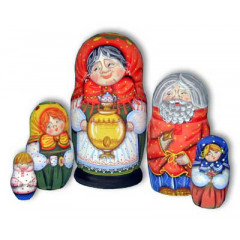 Nesting doll Sergiev-Posad 5 pcs. grandmother with samovar