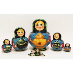 Nesting doll Sergiev-Posad 10 pcs. Samovar