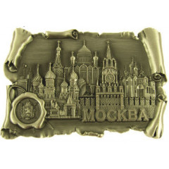 Magnet metal 027-4BR-19k24 scroll with print Moscow Cathedrals tin