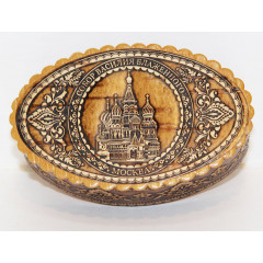 birch bark products box Box, St. Basil's Cathederal, 10 x 7 x 3 cm.