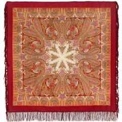 Pavlovo Posad Shawl Pavlovoposadskij with wool fringe 125 x 125 1472-5 Birusinka
