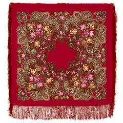 Pavlovo Posad Shawl Pavlovo Posad with silk fringe 89 x 89 779-5 Stranger, red