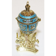 Copy Of Faberge easter egg, JD0495-3 Egg With a crown inside, small,  blue, 6,5 cm.