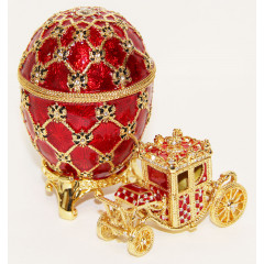 Copy Of Faberge HJD0247A-1+HJD0271A-1 egg with carriage large, red