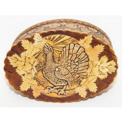 birch bark products box Box oval volume, the Black grouse, 13x9x5 sm.