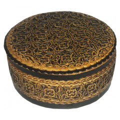 birch bark products box Round, diameter - 11.5 cm. height - 5 cm.