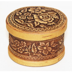 birch bark products box Box round, Flowers, 6,5 x 4.5 cm.