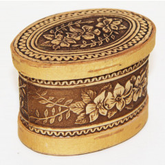 birch bark products box The casket oval, Flowers, 7,5 h 5 x 4,5 cm.