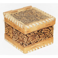 birch bark products box Box with loops, Flowers, 8 h 8 h 6 cm.